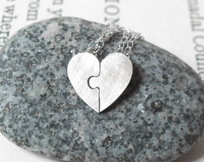Jigsaw Puzzle Heart Necklace, Lover's Necklaces in Sterling Silver, Lover Necklace Set, Handmade in England