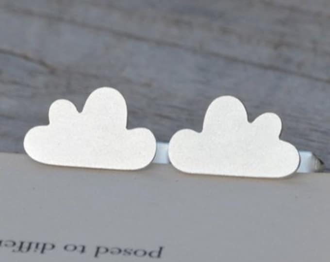 Fluffy Cloud Cufflinks in Solid Sterling Silver, Personalized Cloud Cufflinks, Handmade in the UK