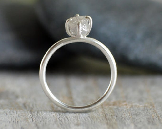 Raw Diamond Engagement Ring, 1.05ct Light Grey Diamond Ring, Diamond Cube Engagement Ring, Handmade in England