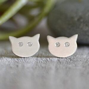 Kitten Dangle Earrings Handmade in The UK Cat Earrings in Sterling Silver