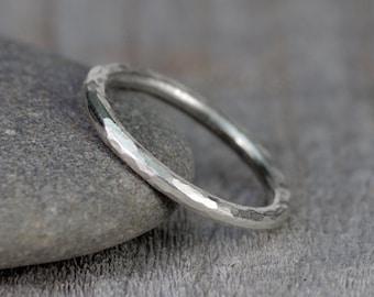 Hammered Effect Wedding Band, 2mm Diameter Rustic Wedding Ring
