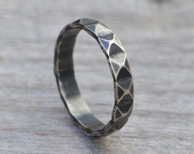 Harlequin Textured Ring in Antique Style, Stacking Ring in Sterling Silver, 4mm Wide Handmade Ring