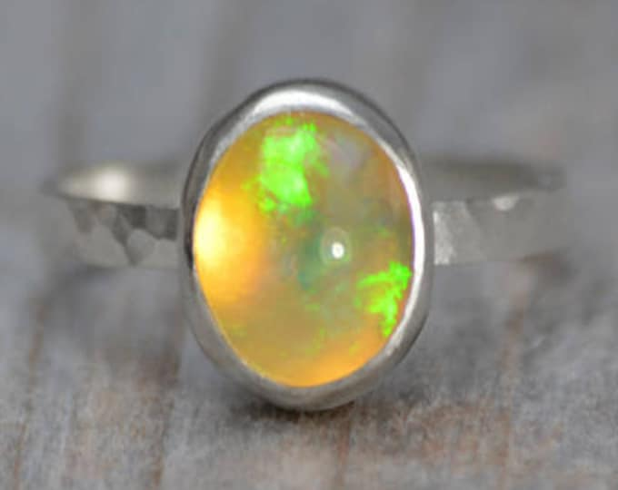 Opal Ring Set in Sterling Silver, Wedding Gift, Promise Ring, October Birthstone Ring