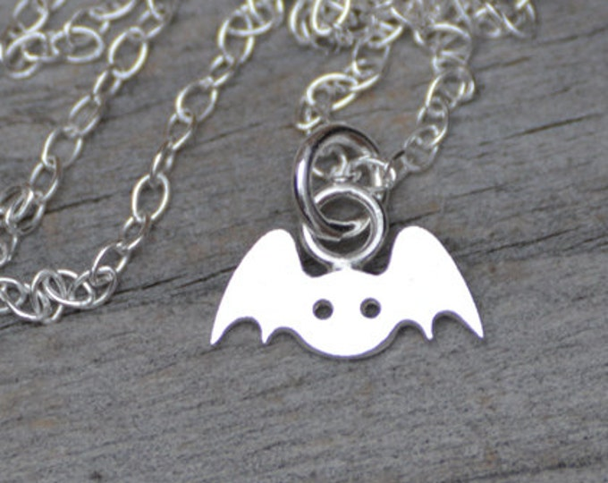 Bat Necklace in Sterling Silver, Silver Bat Necklace