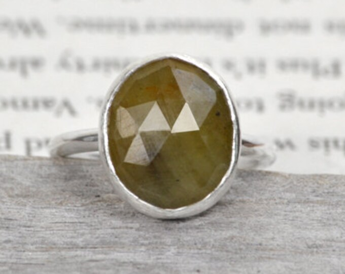 Rose Cut Sapphire Ring In Olive Color, Oval Sapphire Ring, Candy Color Gemstone Ring
