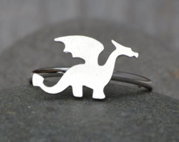Dragon Ring in Sterling Silver, Stackable Animal Ring