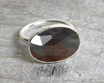 Large Sapphire Ring in Sterling Silver, Bi Coloured Sapphire Cocktail Ring, 6.65ct Sapphire Ring