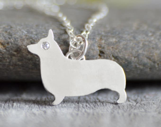 Corgi Necklace With A Diamond Eye, Corgi Jewellery Handmade In The UK