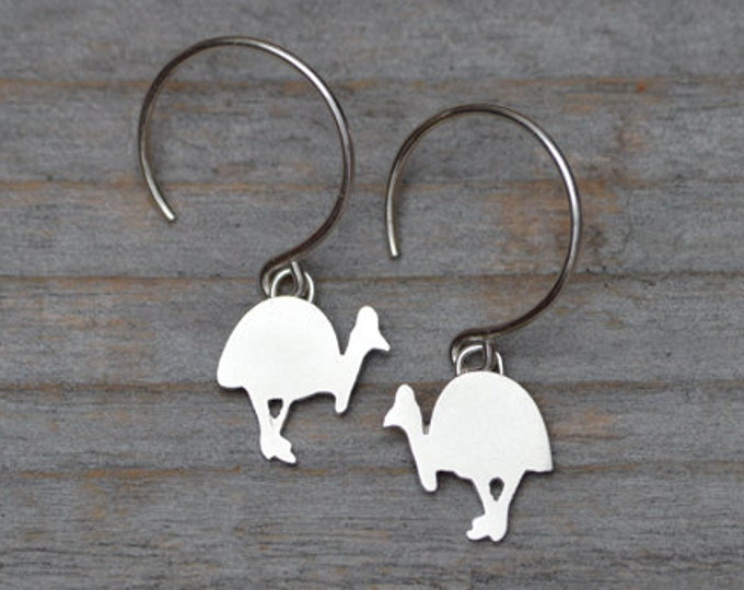 Southern Cassowary Dangle Earring in Sterling Silver