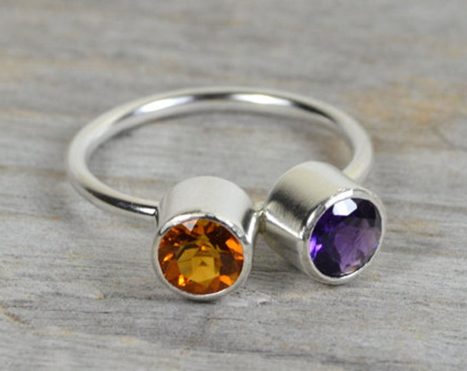Amethyst And Citrine Ring Set in Sterling Silver, Friendship Duo Birthstone Ring, Size 5.25, Handmade in England