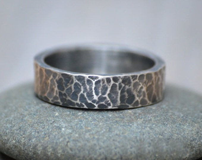 Oxidised Hammered Effect Wedding Band in Sterling Silver with Personalized Message Inside, 5.5mm Wide Rustic Wedding Ring