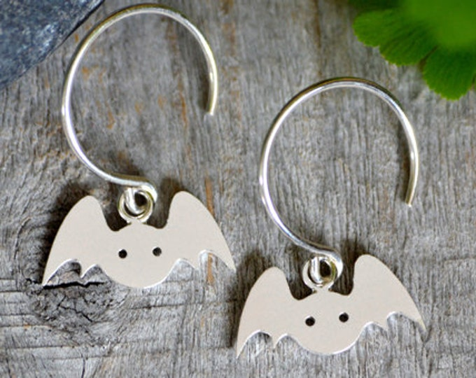 Bat Earrings in Sterling Silver, Silver Bat Earrings, Animal Earrings, Handmade in the UK