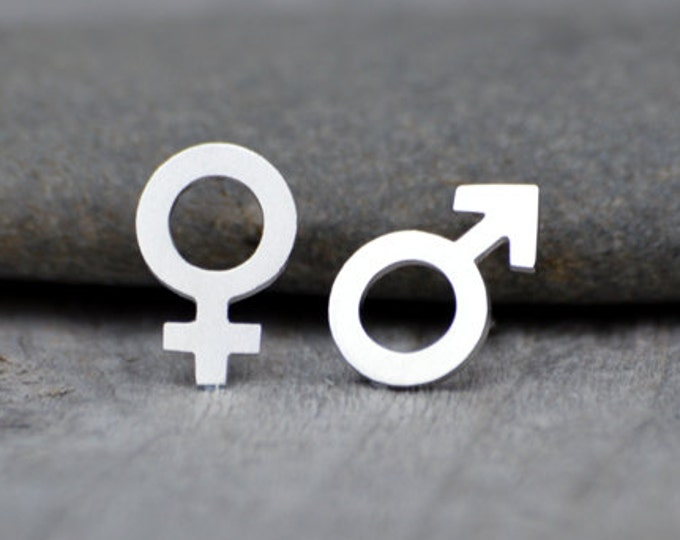 Mars & Venus Stud Earrings in Sterling Silver, Boy and Girl Stud Earrings Handmade in England