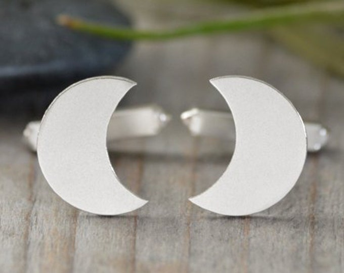 Moon Shape Cufflinks In Sterling Silver, With Personalized Message On The Back, Handmade In The UK
