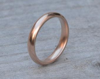 Rose Gold Wedding Band, Comfort Fit Wedding Ring, 3mm Wedding Band, 4mm Wedding Band