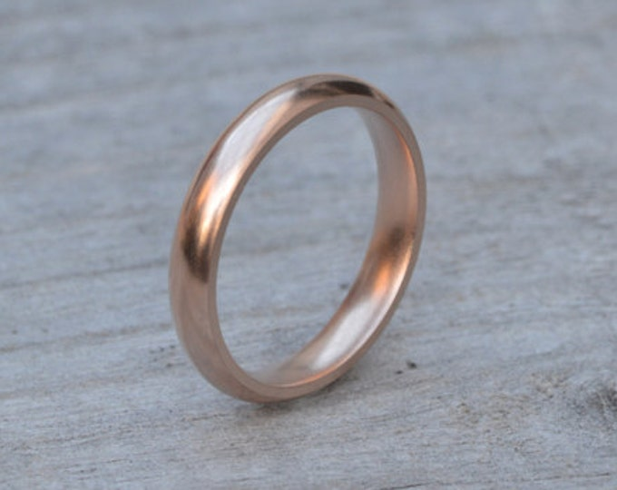 Rose Gold Wedding Band, Heavy Domed Comfort Fit Wedding Ring, Stackable Ring