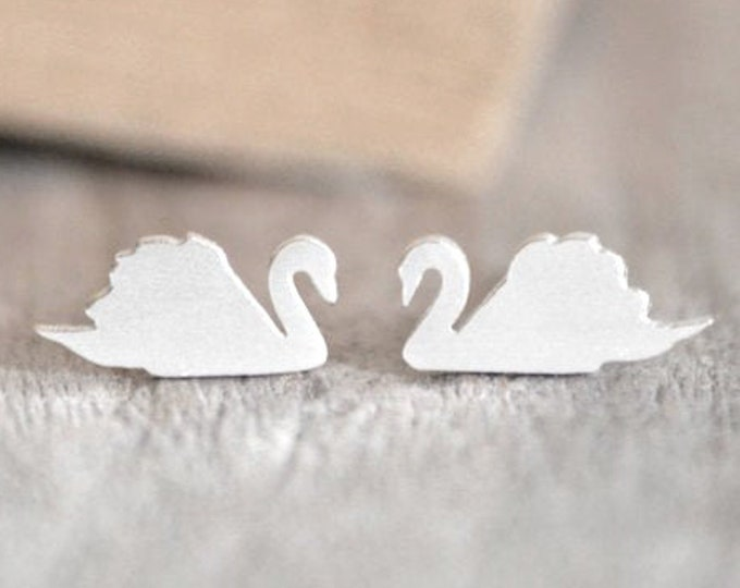 Swan Stud Earrings in Solid Sterling Silver, Swan Stud Earrings