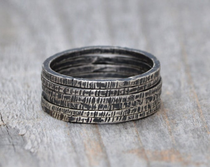 Stackable Textured Sterling Silver Rings, Antique Style Stackable Ring Set, Unique Handmade Slim Rings