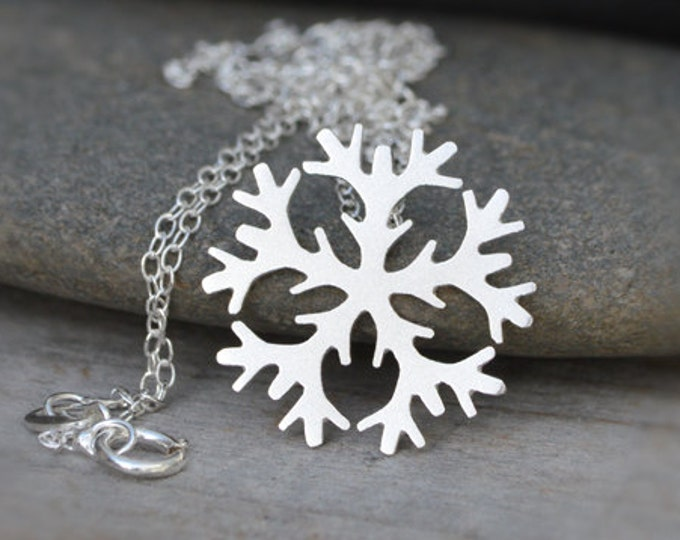 Snowflake Necklace 2cm in Sterling Silver, Weather Forecast Necklace, Winter Necklace, Handmade in England