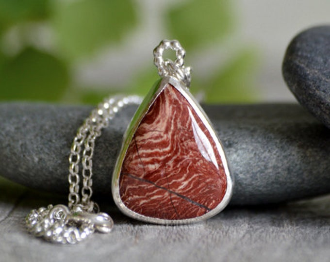 Jasper Necklace with Sterling Silver Handmade in the UK