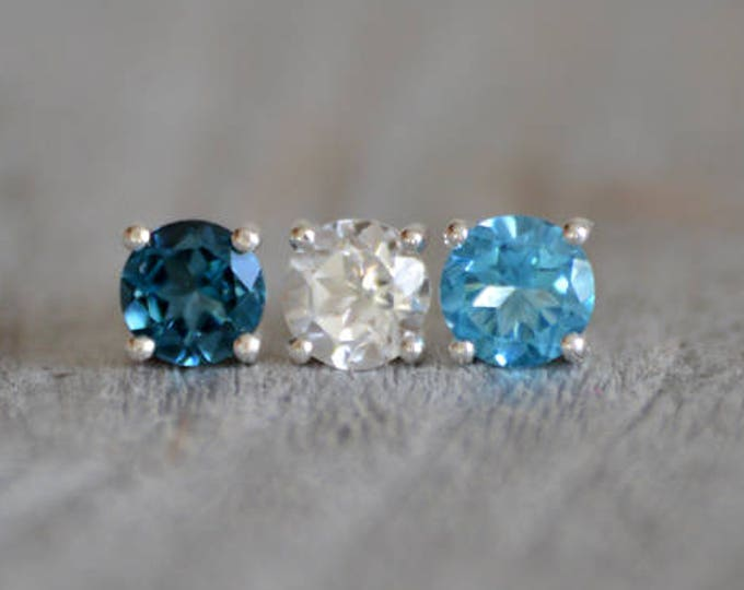 Topaz Stud Earrings, London Blue Topaz Stud Earrings, Swiss Blue Topaz Stud Earrings, Clear Topaz Stud Earrings
