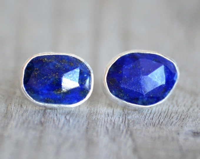 Lapis Lazuli Stud Earrings, Lapis Lazuli Earring Studs, Blue Earring Studs, Wedding Gift, Handmade in England