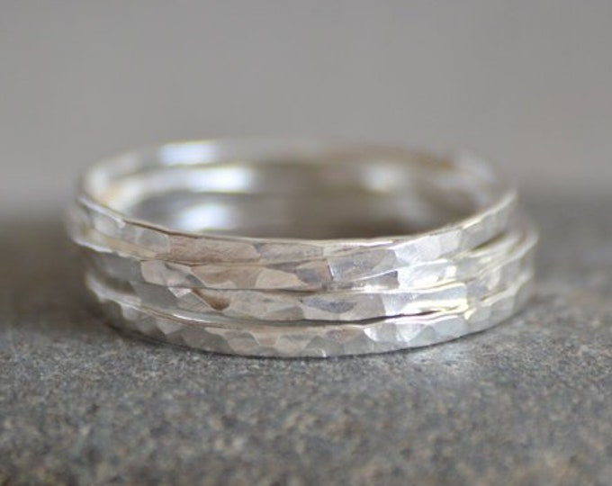 Slim Stacking Rings In Sterling Silver, Rustic Stackers, Hammered Stacking Rings, Handmade Stacking Ring Set, Made To Order