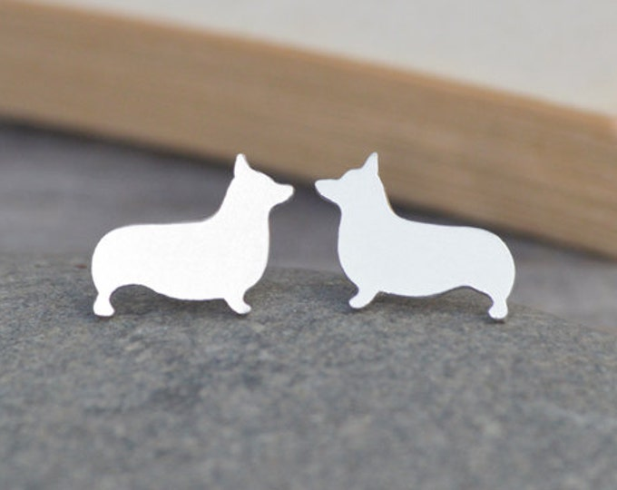 Corgi Earring Studs In Sterling Silver, Puppy Earring Studs, Doggy Earring Studs, Handmade In The UK