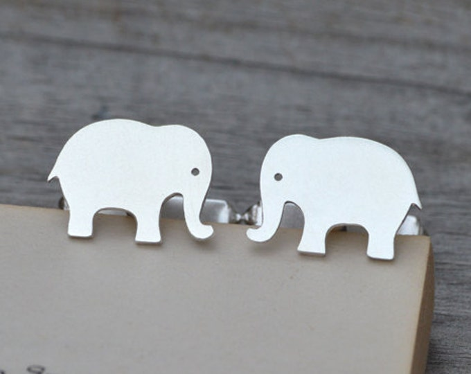 Elephant Cufflinks in Solid Sterling Silver, Personalized Cufflinks, Handmade in the UK