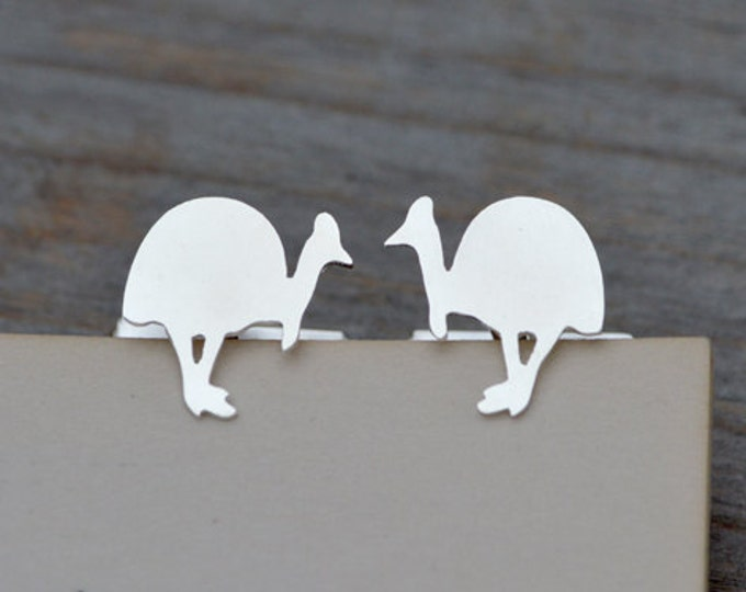 Southern Cassowary Cufflinks In Sterling Silver