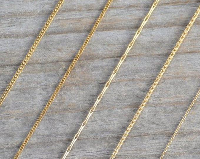 "Solid 18ct Yellow Gold Chain, Diamond Cut Curb Chain, Barleycorn Chain, Spiga Chain, Belcher Chain, 16"" Chain, 18 Inch Chain"