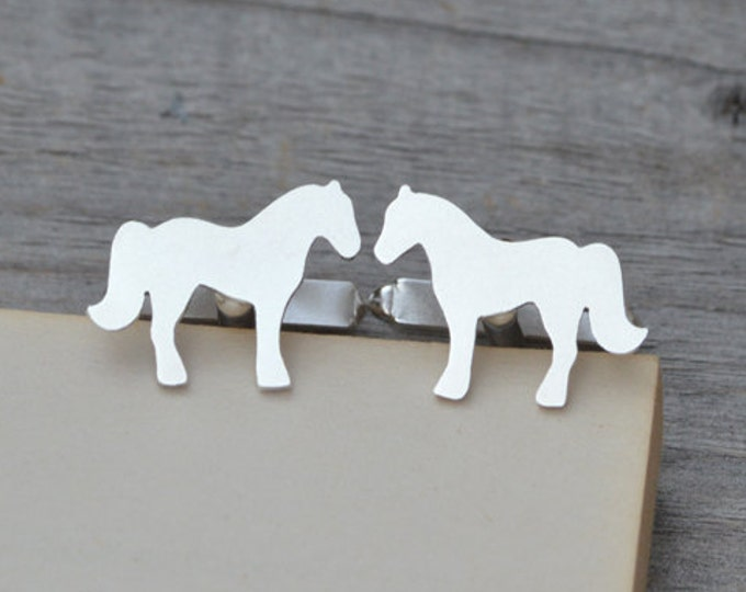 Horse Cufflinks in Solid Sterling Silver, Silver Horse Cufflinks, Handmade in the UK