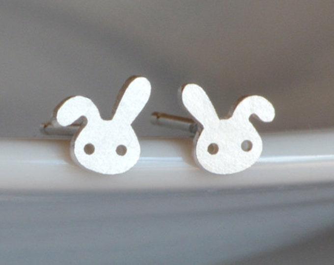 Bunny Rabbit Stud Earrings with Floppy Ear, Silver Rabbit Stud Earrings, Handmade in Sterling Silver
