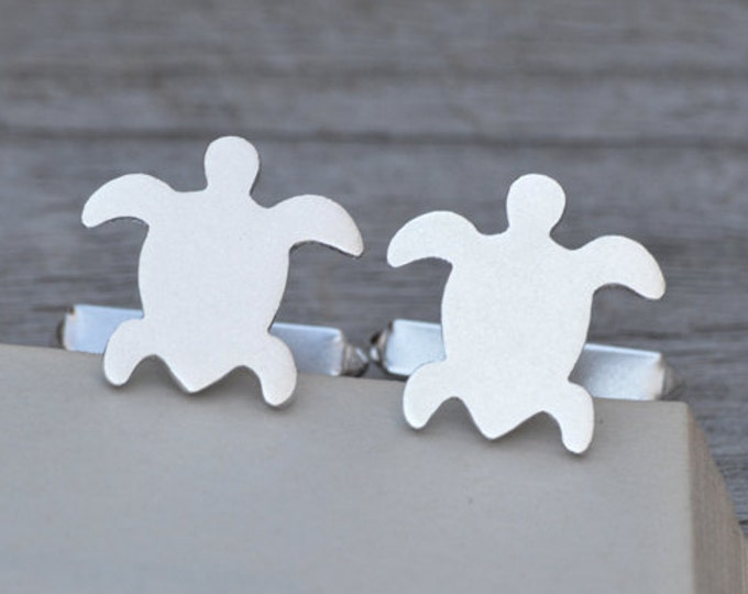 Sea Turtle Cufflinks In Sterling Silver With Personalized Message On The Backs, Handmade In The UK