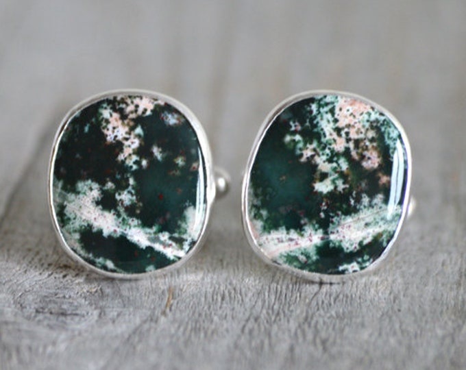 Jasper Cufflinks Set In Sterling Silver, Gemstone Cufflinks For Him, Wedding Gift Handmade In The UK