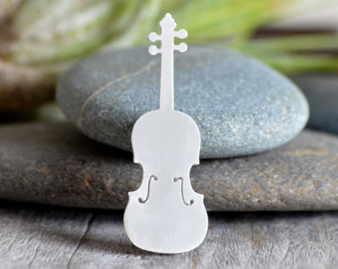 Violin Brooch In Sterling Siver, Handmade In The UK