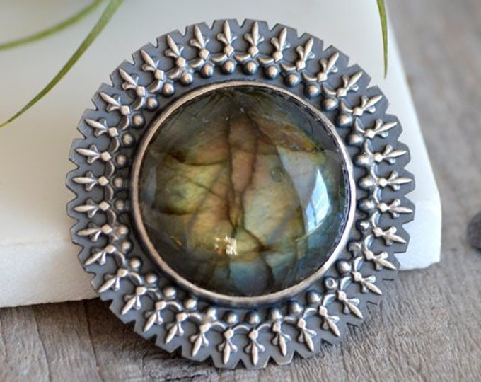 Labradorite Brooch Set in Sterling Silver, Labradorite Statement Brooch, Large Labradorite Brooch