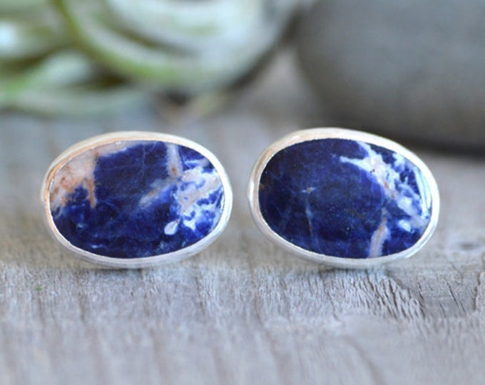 Sodalite Cufflinks Set In Sterling Silver, Something Blue Wedding Gift For Him, Total 23ct, Handmade In UK