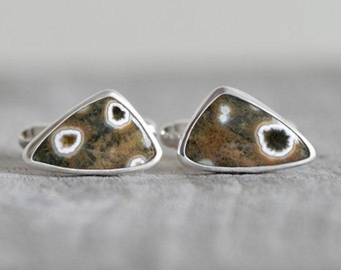 Ocean Jasper Cufflinks Set In Sterling Silver, Gemstone Cufflinks For Him, One-Of-A-Kind Wedding Gift Handmade In The UK