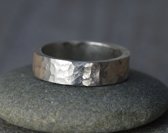 Hammered Effect Wedding Band in Sterling Silver With Personalized Message Inside, 5mm Wide Rustic Wedding Ring