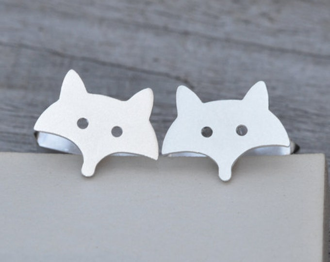 Fox Cufflinks in Sterling Silver, Silver Fox Cufflinks, Handmade in the UK