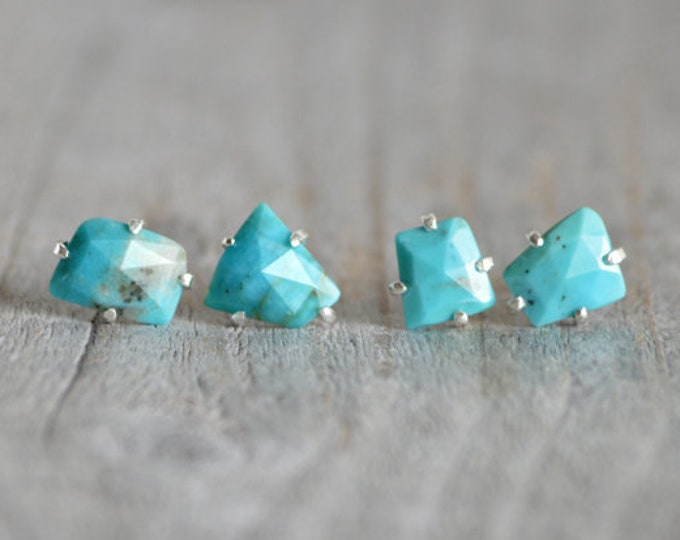 Rose Cut Turquoise Stud Earrings, Turquoise Earring Studs, December Birthstone Studs