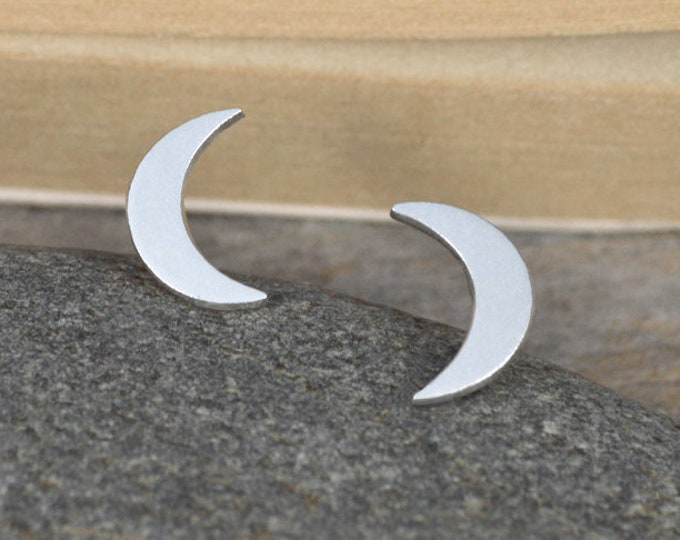 Crescent Moon Stud Earrings In Sterling Silver, Weather Forecast Stud Earrings Handmade In England