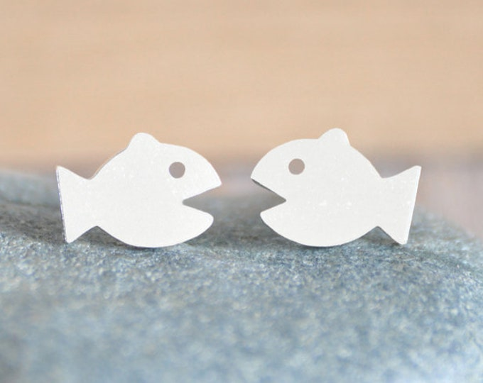 Fish Stud Earrings in Sterling Silver, Silver Fish Stud Earrings, Handmade in the UK