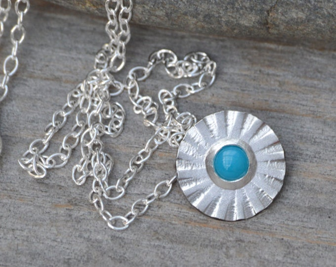 Turquoise Daisy Necklace Set in Sterling Silver, December Birthstone Gift