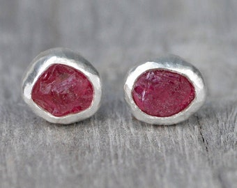 Rough Ruby Stud Earrings, Raw Ruby Ear Posts, Made to Order