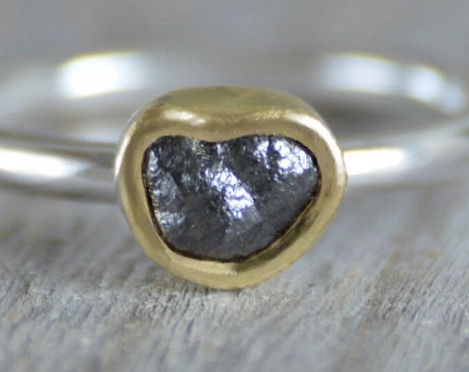 Black Diamond Engagement Ring, Heart Shape Diamond Ring, Raw Diamond Engagement Ring with 18k Yellow Gold, 0.85ct Rough Diamond Ring