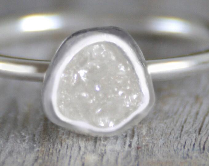 Raw Diamond Engagement Ring, 0.9ct Ice White Raw Diamond Ring, White Diamond Ring, Handmade in England