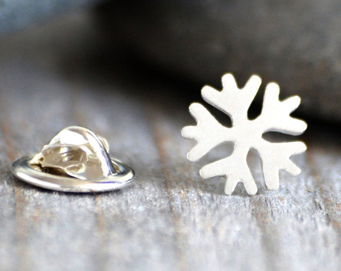 Snowflake Lapel Pin in Sterling Silver, Snowflake Tie Tack in Sterling Silver, Handmade in the UK