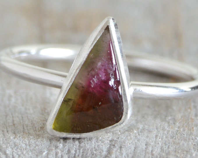 Watermelon Tourmaline Ring, October Birthstone, 0.85ct Triangular Shape Tourmaline Ring, Small Tourmaline Ring